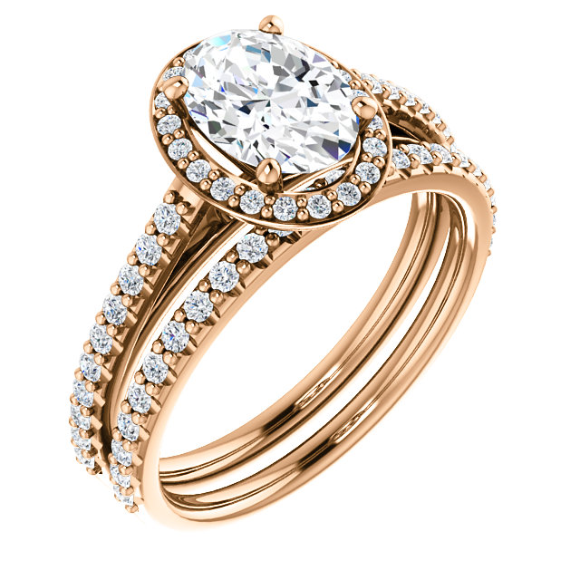 Oval Halo with Diamond Shank